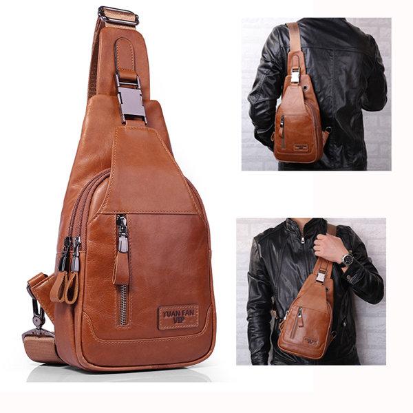 Ekphero Ekphero Men Genuine Leather Shoulder Bag Vintage Chest Bags  Crossbody Bags is worth buying - NewChic 81385ea2f4057