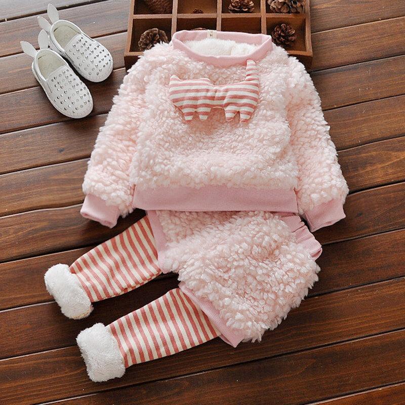 cbc2f51752 Rosa Cálido grueso paño grueso y suave para bebés niñas conjunto para 0-24M