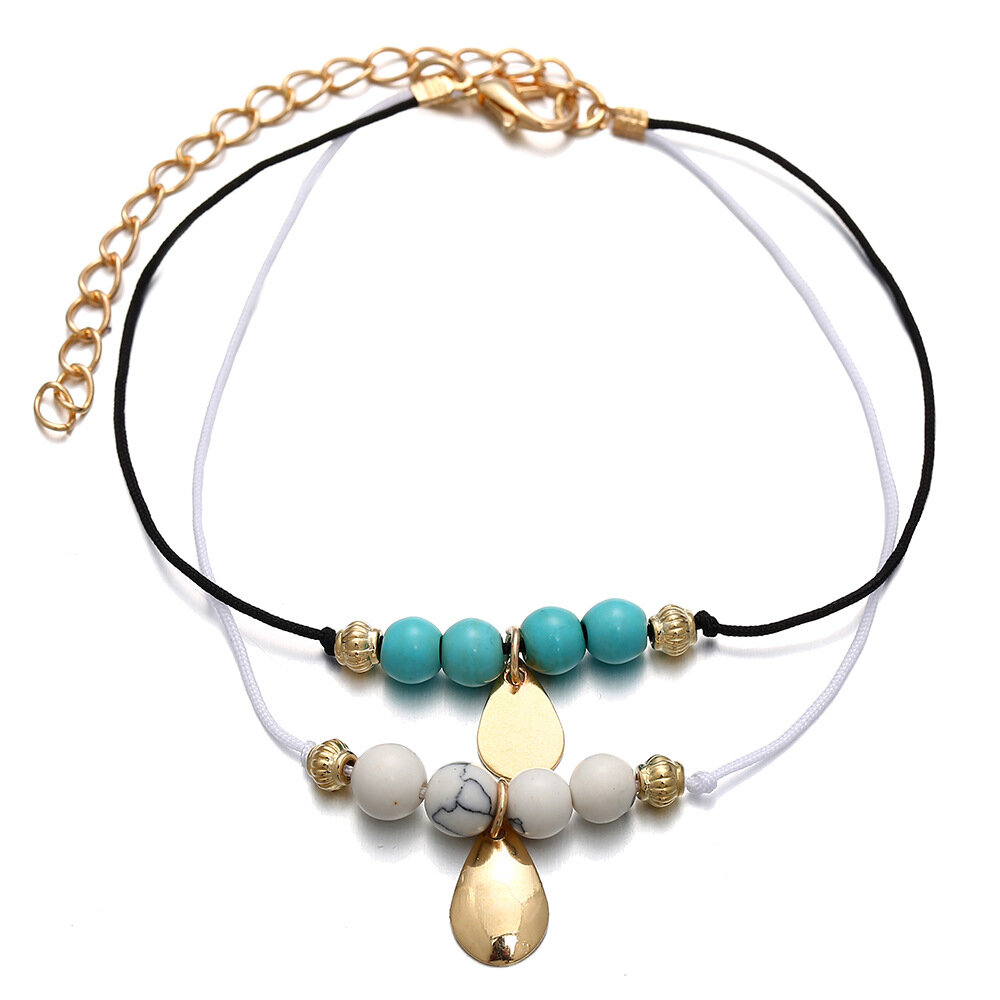 36dc9a5c5229 Cute Ethnic Double Layer Beaded Bracelet Water Drop Turquoise Bracelet For  Women - NewChic