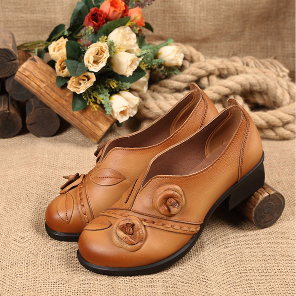 2443c94cc0d9 Hot-sale Socofy Flower Retro Mid Heel Original Folkways Handmade Shoes -  NewChic