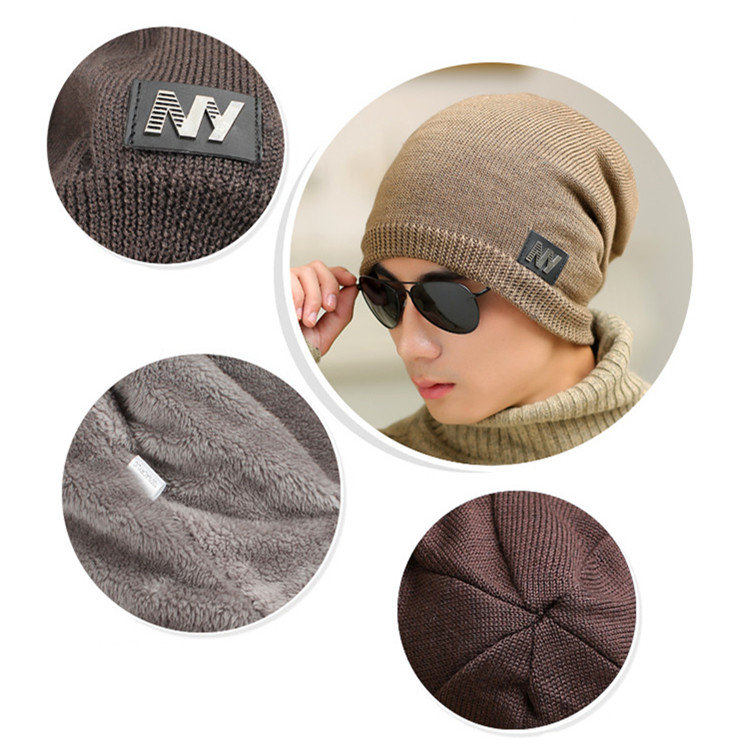 c3af9491b5d Mens Winter Thicken Warm Plush Knitted Hat Headgear Casual Winproof Baggy  Skullies Beanies Hats Cheap - NewChic