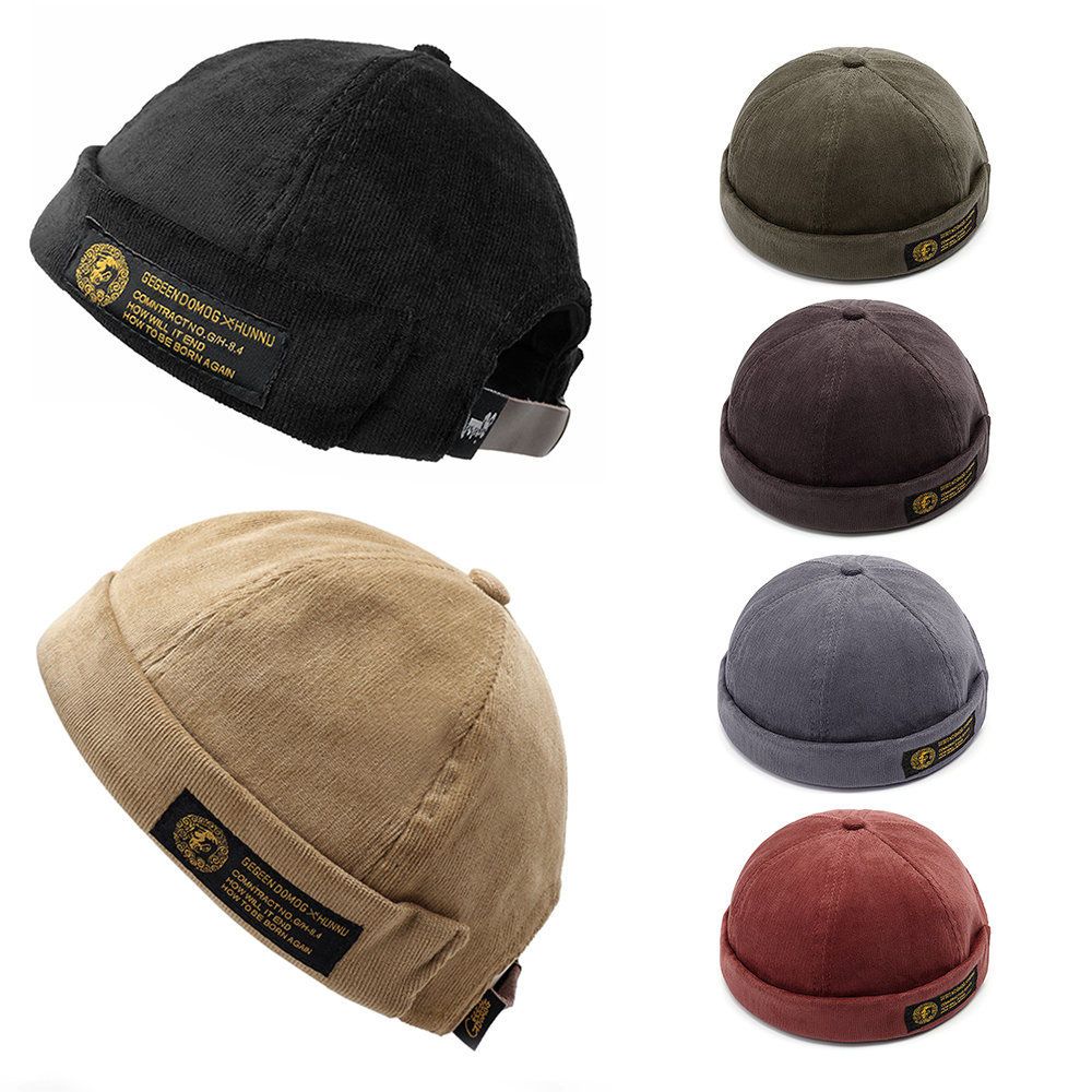 c8aa57a00f719 Men Women Couples Adjustable Solid Corduroy Velvet Brimless Hats Retro  Vogue Crimping Bucket Cap Cheap - NewChic