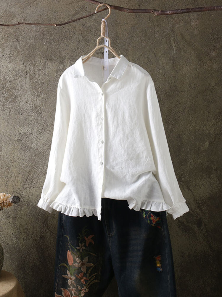 b790a4b445afe Lace Button Turn Down Collar Solid Color Long Sleeve Shirt Cheap - NewChic
