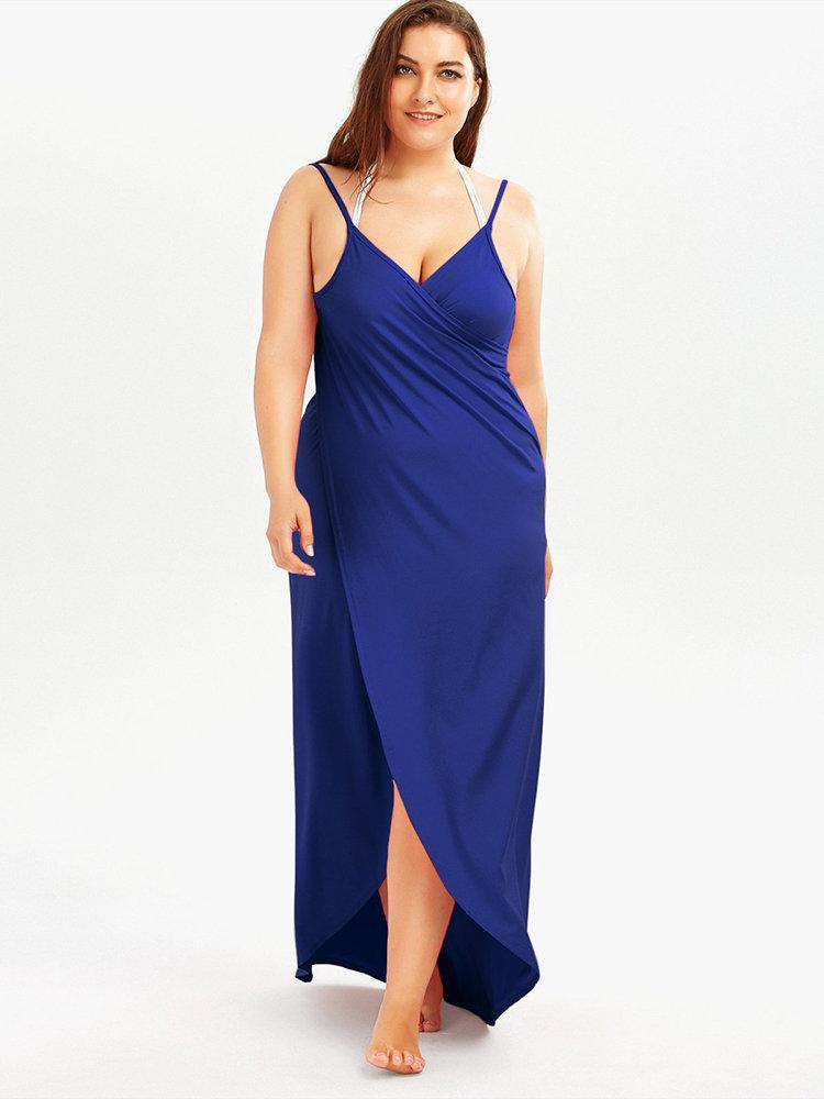 27e8016761fbe Plus size Sexy Solid Backless Spaghetti Straps Maxi Beach Dresses - NewChic
