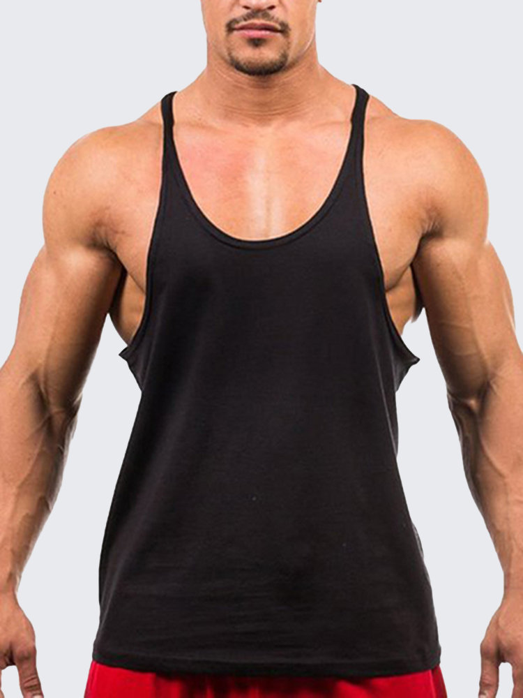 f303cbd29489 Mens Summer 100%Cotton Breathable Sweat Loose Fit Workout Tank Tops is Cool- NewChic