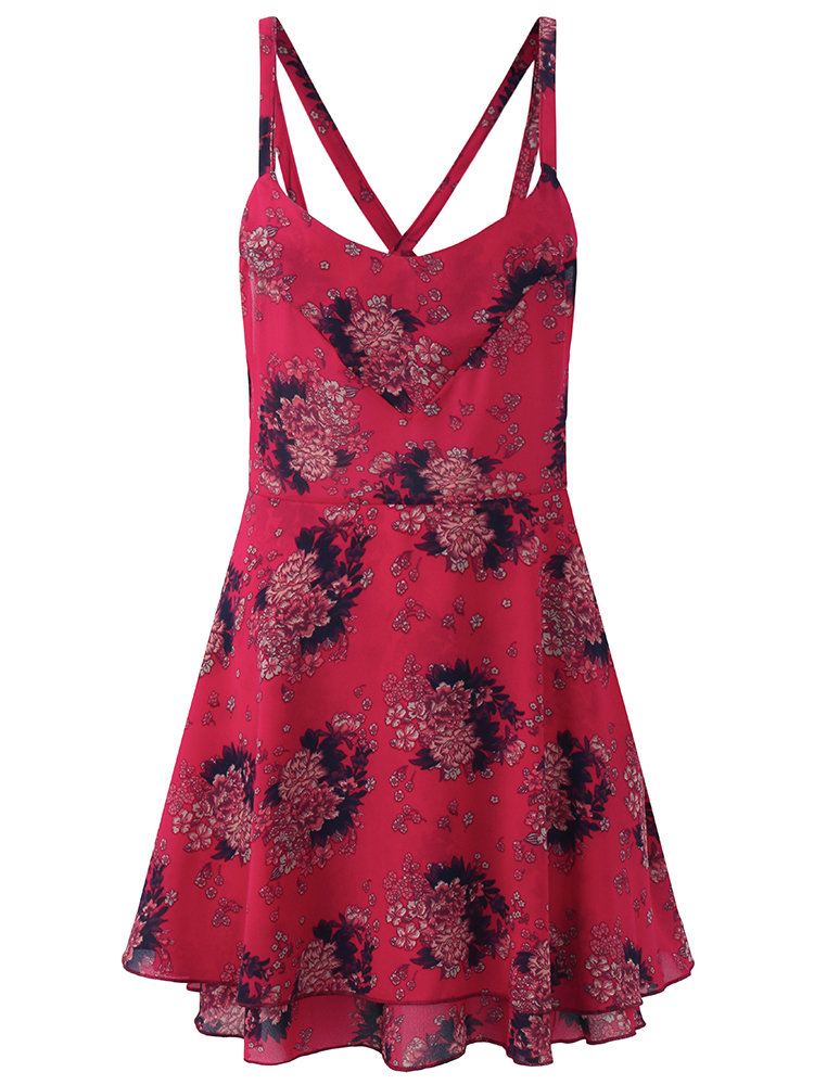 77bb7ed4301 Hot saleSexy Floral Print Backless Criss-cross V-neck Mini Dress For Women  Cheap - NewChic