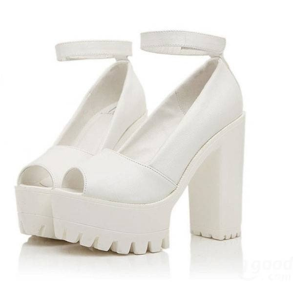 High-quality Leather Strappy Chunky Heel Pure Color Piscine Mouth Sandals -  NewChic fe2c2c5c4