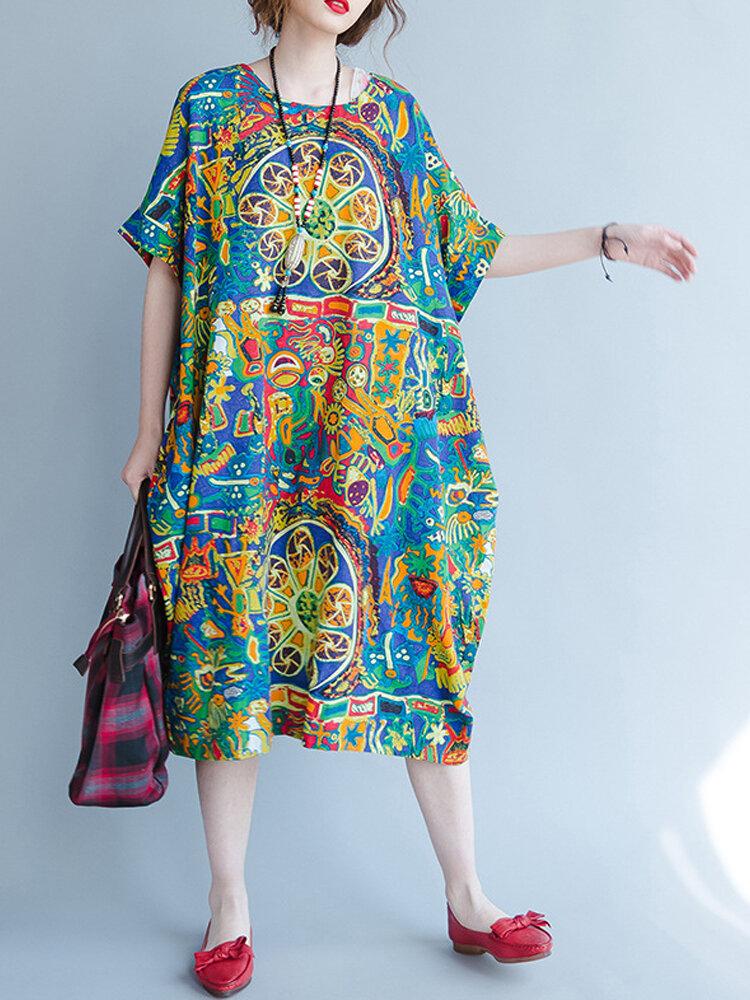 20c0be1ab4c61 O-NEWE أزياء قصيرة الأكمام المطبوعة الفضفاضة فساتين للنساء- NewChic