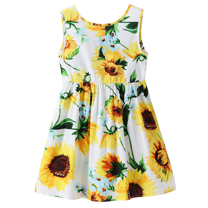 7f0723a6042 Sunflower Printed Girls Summer Tropical Dresses For 1Y-9Y On Sale - NewChic