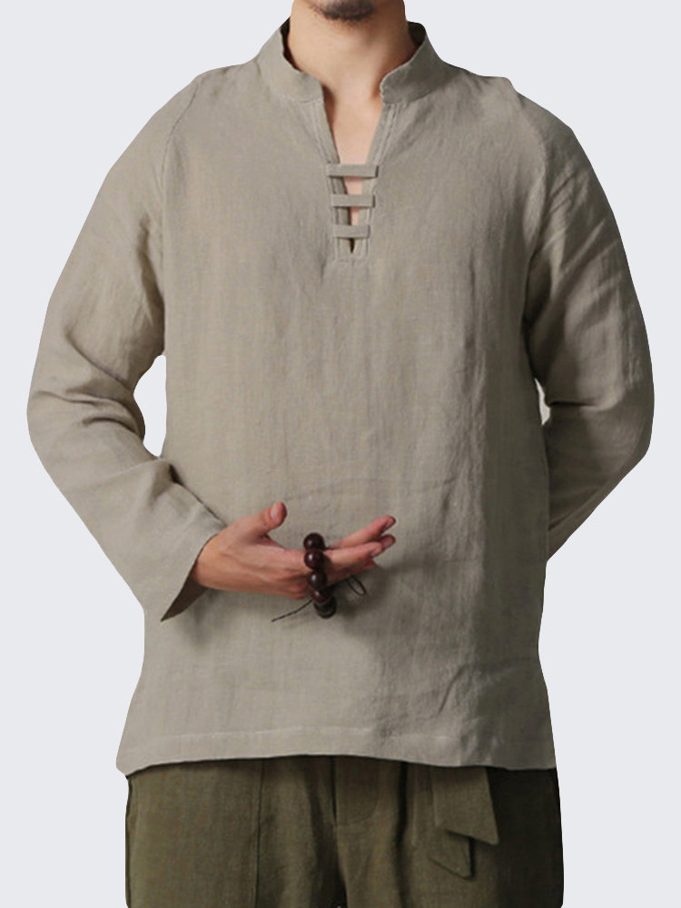 be30021911d INCERUN Mens Chinese Style V-Neck Cotton Linen T Shirt Casual Solid ...