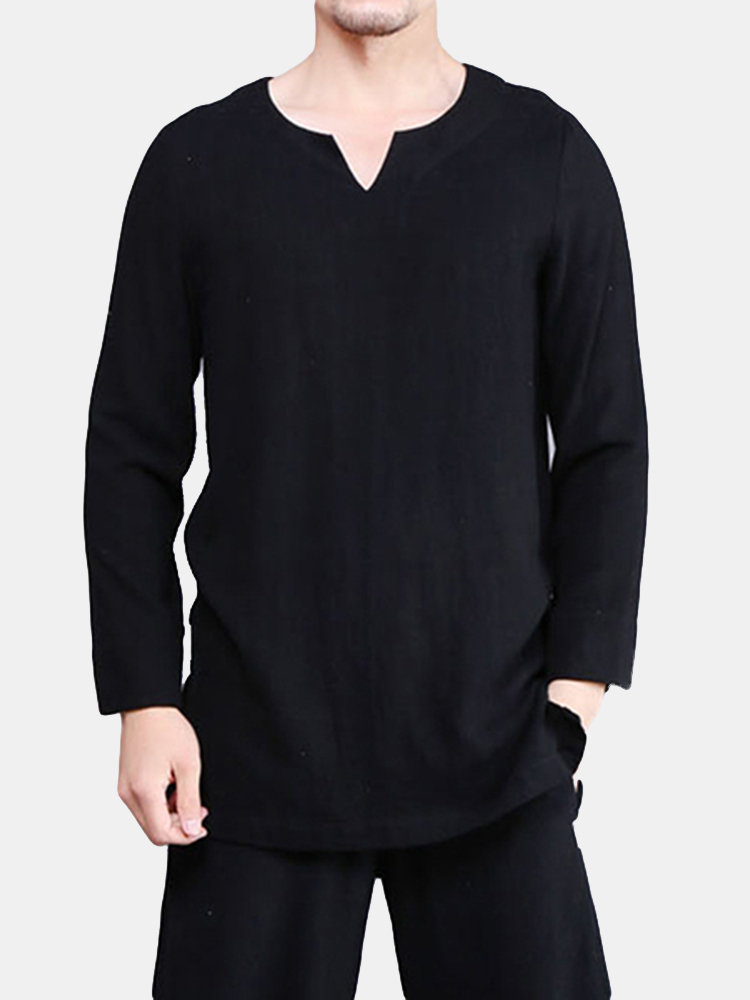 3d4b184217c Mens Chinese Style Summer Cotton Linen Solid Color Long Sleeve T Shirt  V-neck Top Tees on sale-NewChic