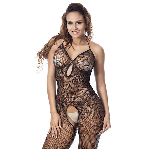 3a63c9363 Sexy Sexy Open Crotch Backless Halter Jacquard Mesh Bodystocking For Women  - NewChic