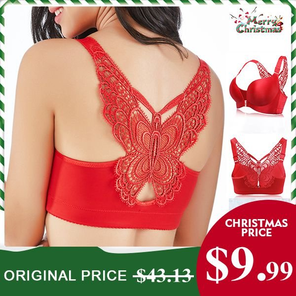 ae07e3a394 Sexy Butterfly Embroidery Front Closure Wireless Adjustable Gather Soft Bras  - NewChic
