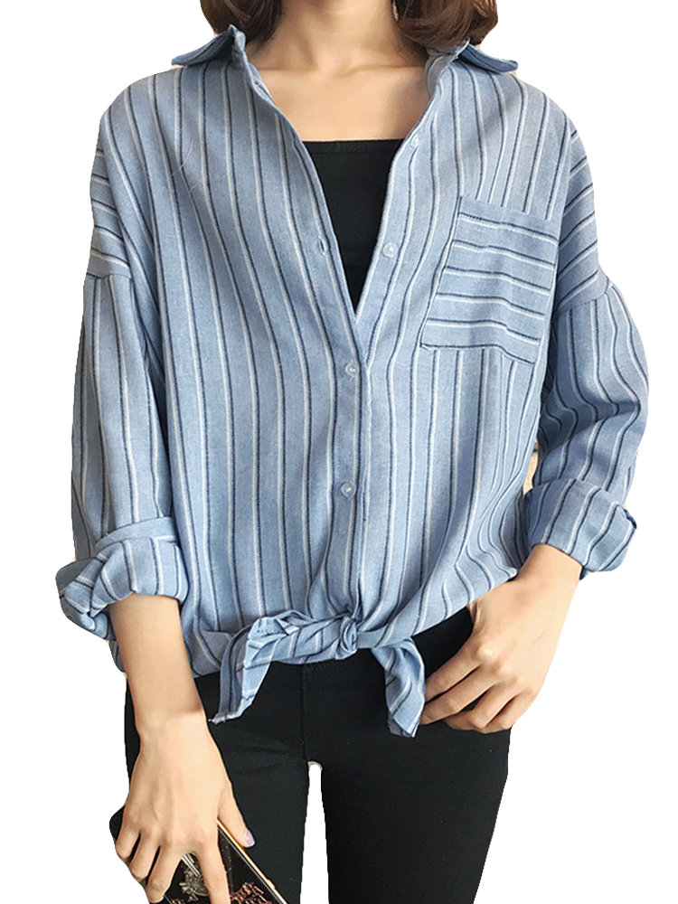 ade4b3bfebf Middle East Casual Striped Long Sleeve Turn-down Collar Shirts Cheap -  NewChic