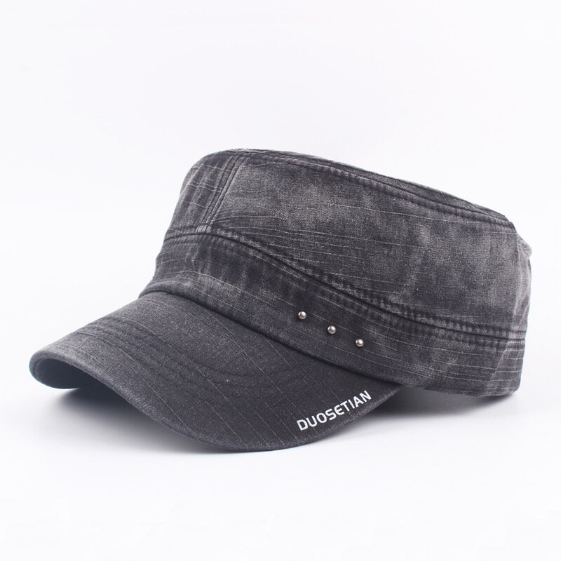 011e99897c27 Mens Vintage Washed Cotton Flat Top Hats Outdoor Exercise Army Hat Baseball  Caps Adjustable Cheap - NewChic