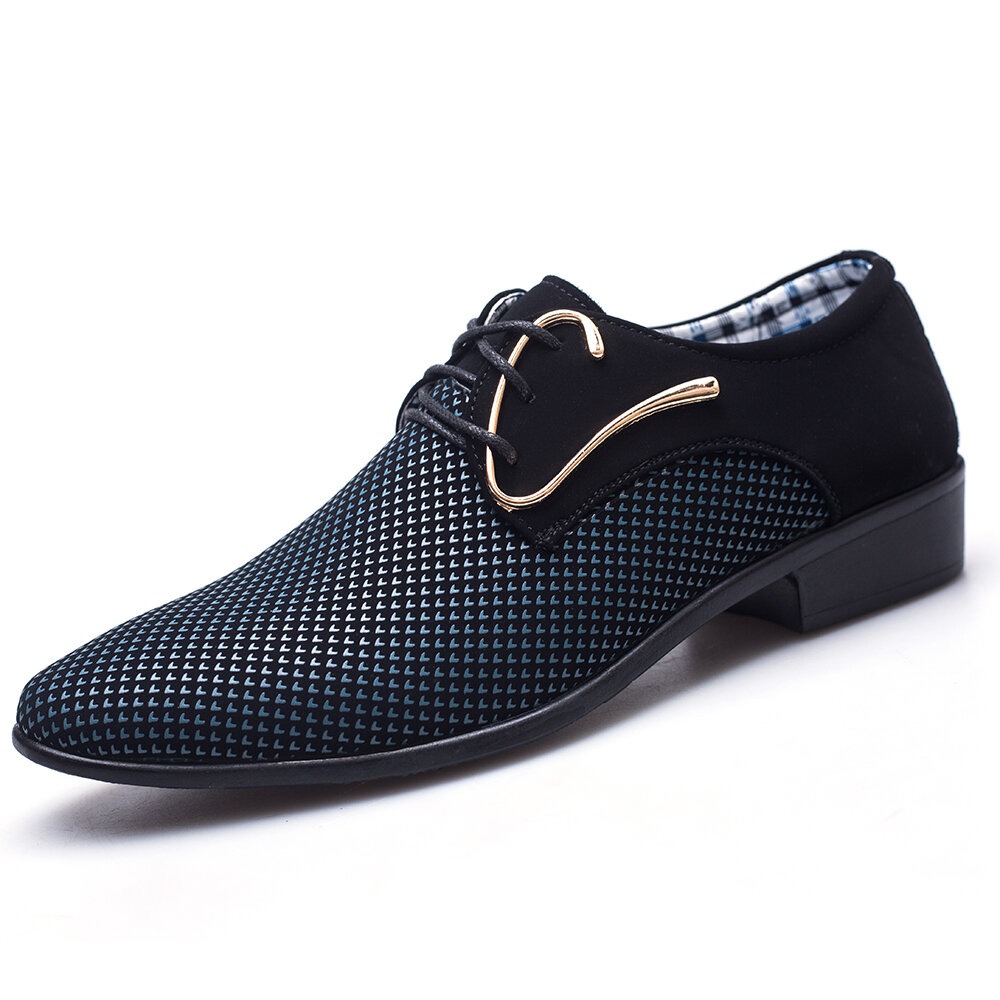 dff509989040 Large Size Men Stylish Splicing Leather Casual Formal Dress Shoes Online -  NewChic