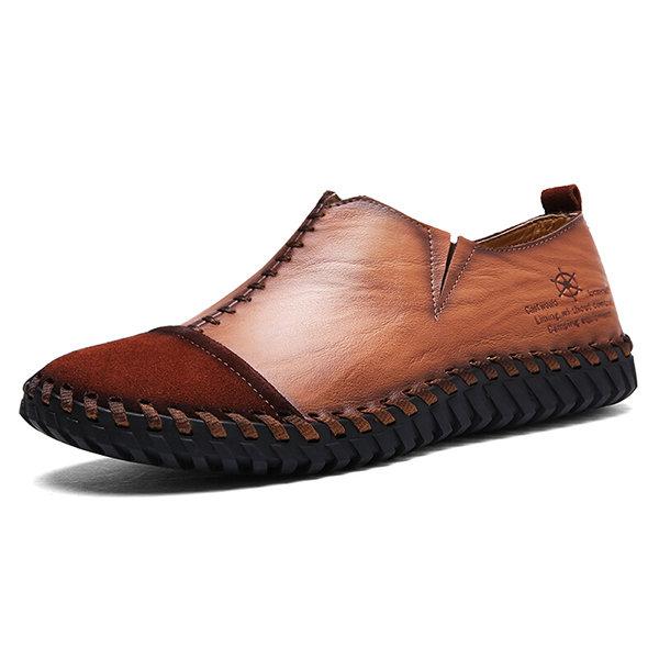 1ded76e1757 Zapatos casuales vintages de cosido a mano Mocasines suaves de cuero vacuno  para hombres