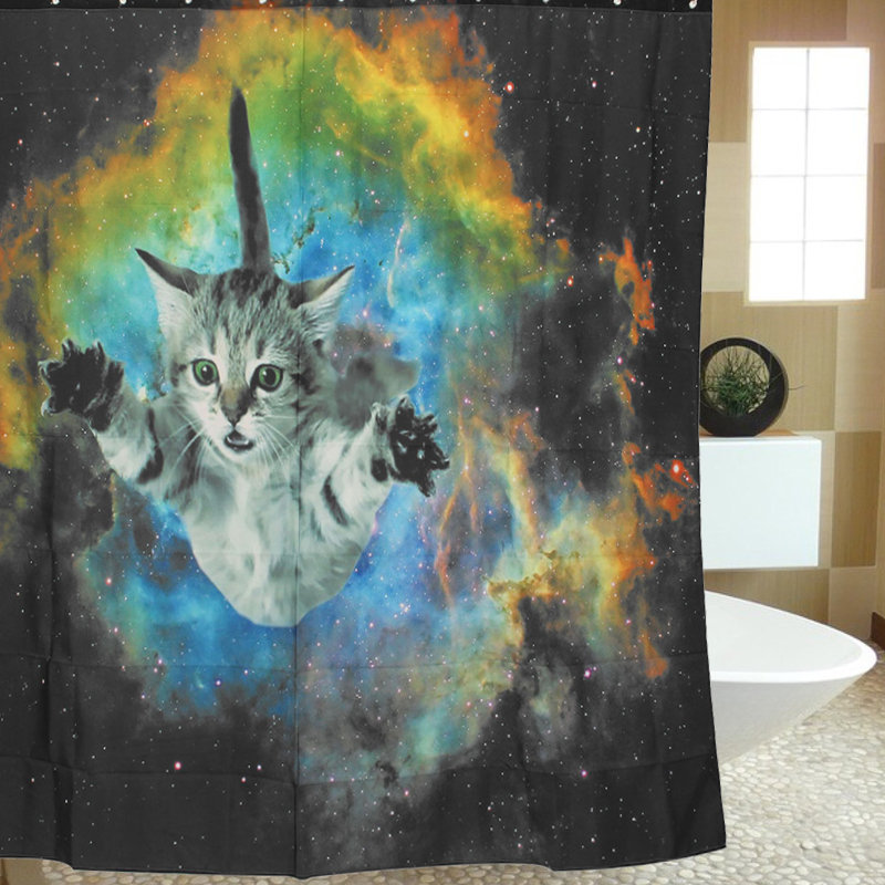 180180cm Custom Cat Galaxy Space Theme Waterproof Bathroom Shower Curtain With Hooks