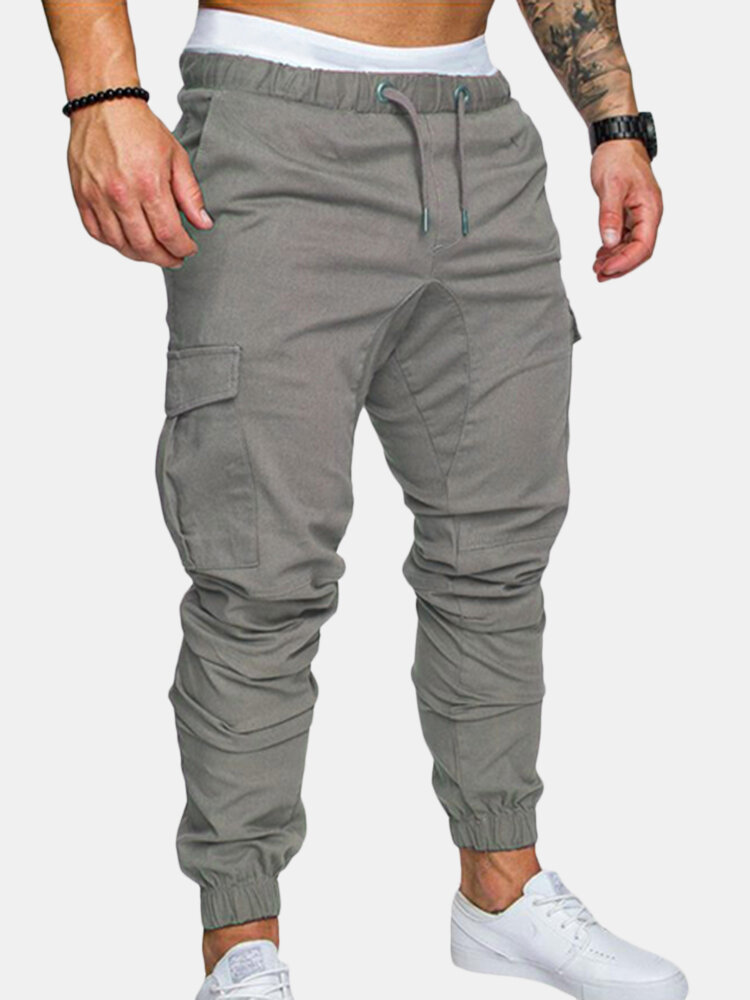 ef4311b3a361d Mens Multi-pocket Cargo Pants Elastic Waist Slim Fit Solid Color Casual  Trousers Online-NewChic