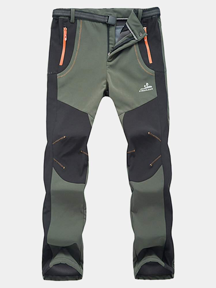 Mens Outdoor Sport Pants Elastic Waist Soft Shell Warm Fleece Lining
