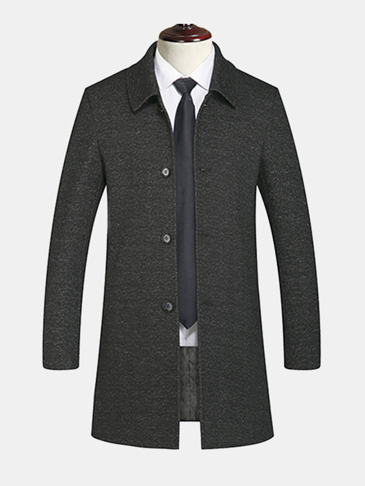 b9f417087d94 Mens Winter Wool Casual Business Trench Coat Thick Warm Mid Long ...