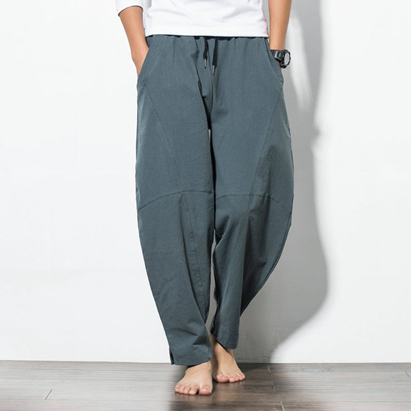 64783eaf845 ChArmkpR Mens Casual Baggy 100% Cotton Harem Pants Solid Color Loose Wide  Leg Pants Online-NewChic
