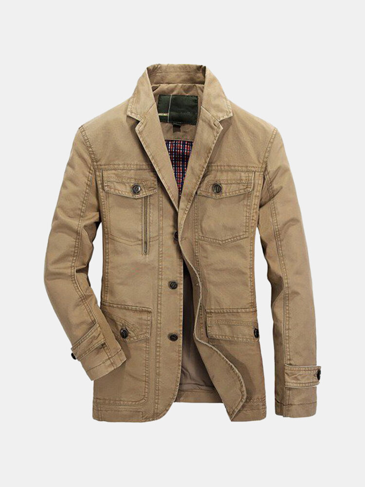 ae3065fe3c1 Plus Size Men s Outdoor Jacket Solid Color Casual Business Cotton Coat  sales-NewChic