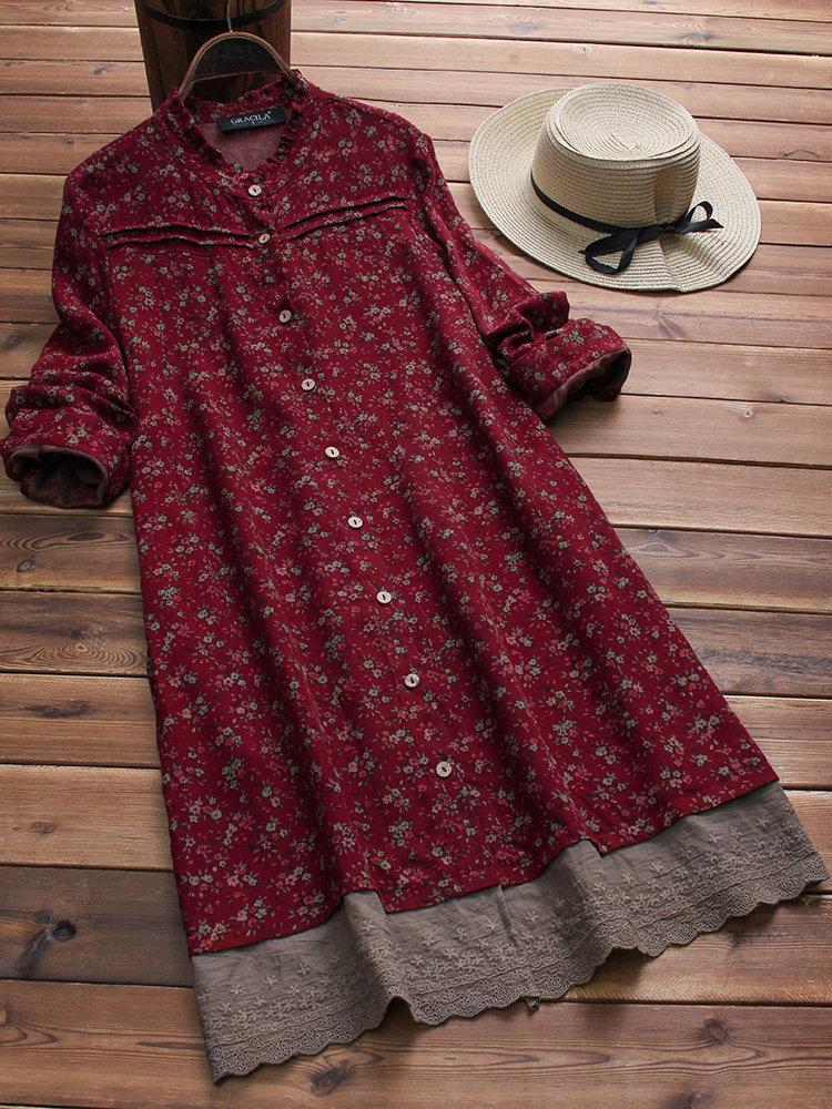 Vestidos longos bordados do vintage da luva dos retalhos florais da cópia 0714e4cbc5a96