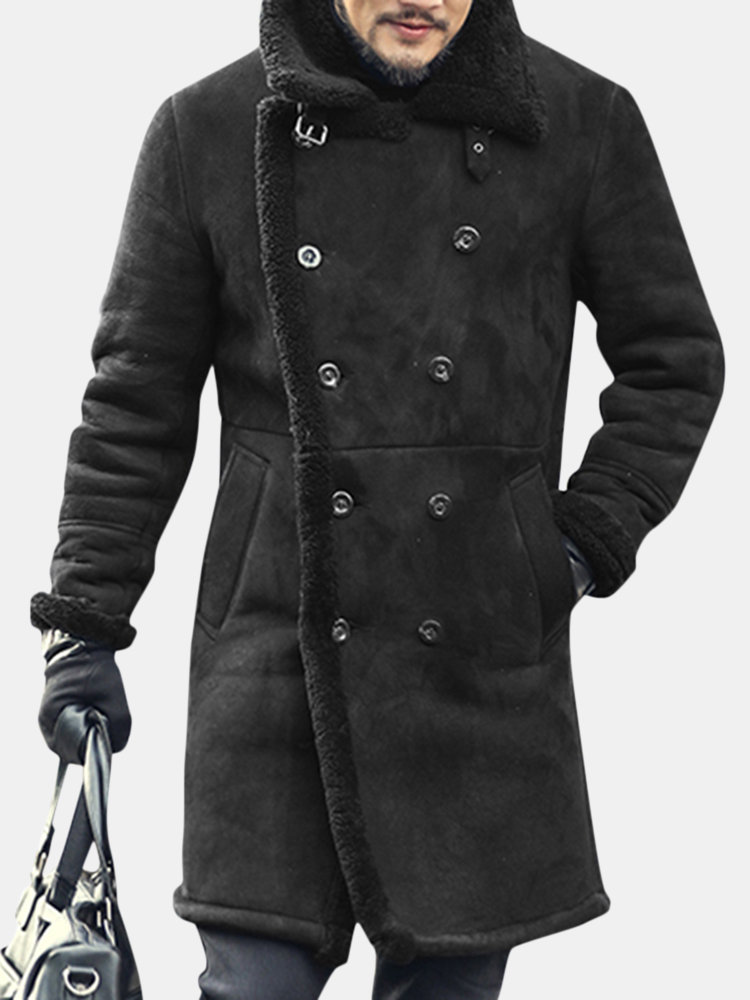 Charmkpr Mens Mid Long Faux Leather Coat Winter Warm Fur Leather