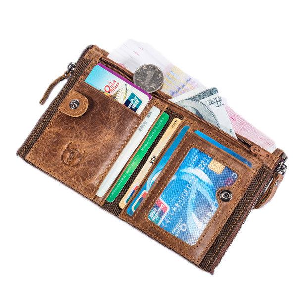 Hot-sale Bullcaptain Vintage Genuine Leather Card Holder 2 Zipper Pockets Coin Bag Wallet For Men - NewChic