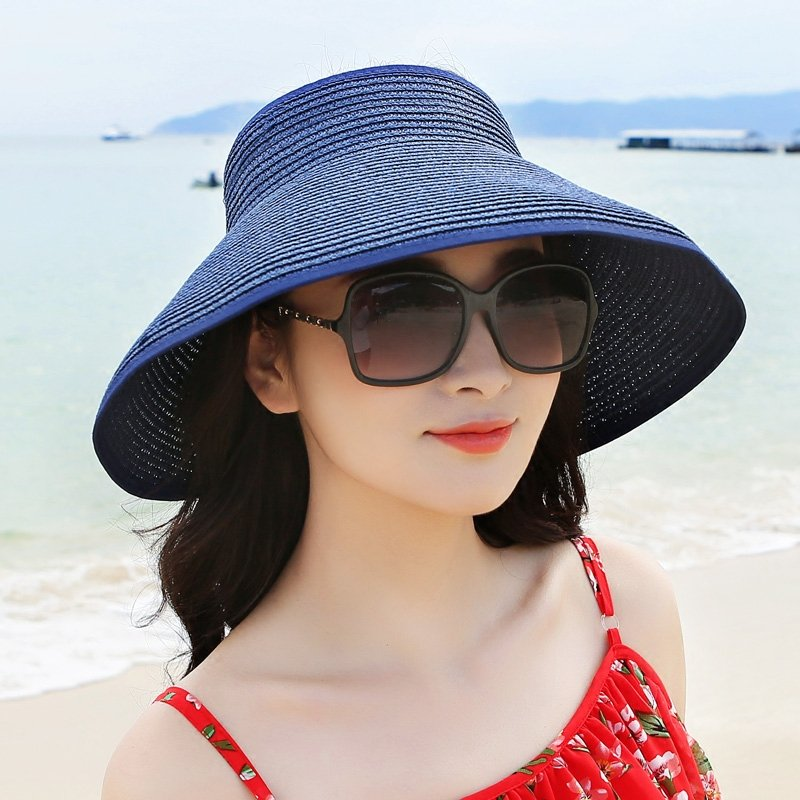 205f4481671 Women Foldable Bowknot Empty Top Wide Brim Beach Sun Straw Hat Outdoor Summer  Travel Visor Cap Online Cheap - NewChic