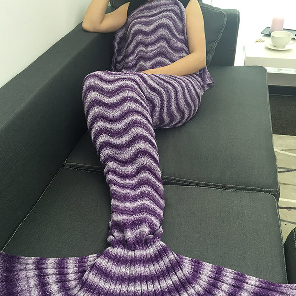 Hot Sale Personalized 170x80cm Yarn Knitted Mermaid Tail Blanket