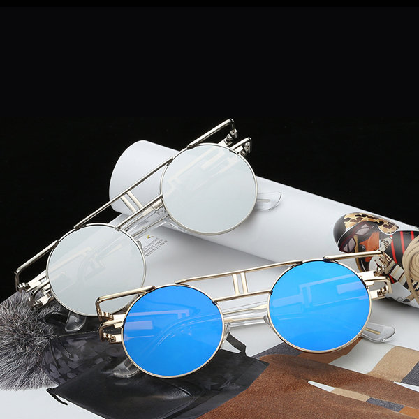 43cb65c5f6 Men Women Vintage UV400 Sunglasses Retro Steampunk Round Mirror Lens Glasses  Cool - NewChic