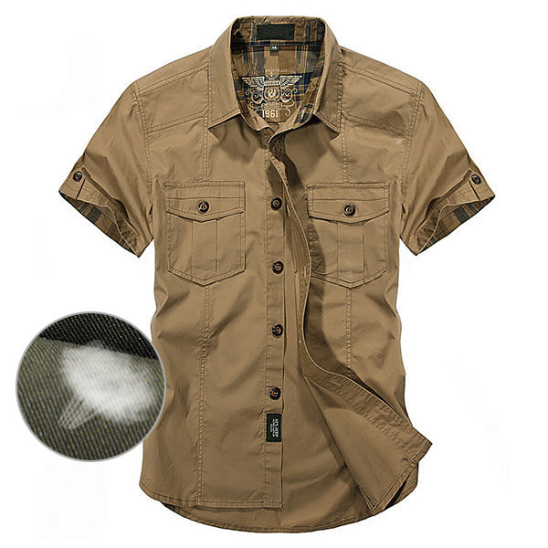 892bbe6d0c7 Outdoor Sport 100%Cotton Breathable Multi Pockets Cargo Short Sleeve Dress  Shirts for Men - Newchic