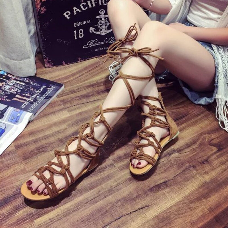 1652d9254b6 High-quality Women Big Size Gladiator Summer Solid Color Zipper Cross Lace  Up Flat Sandals - NewChic
