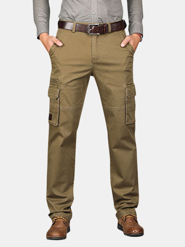 6bcd8cce3cf Mens Cotton Breathable Multi-pocket Business Casual Straight Cargo Pants  Online-NewChic