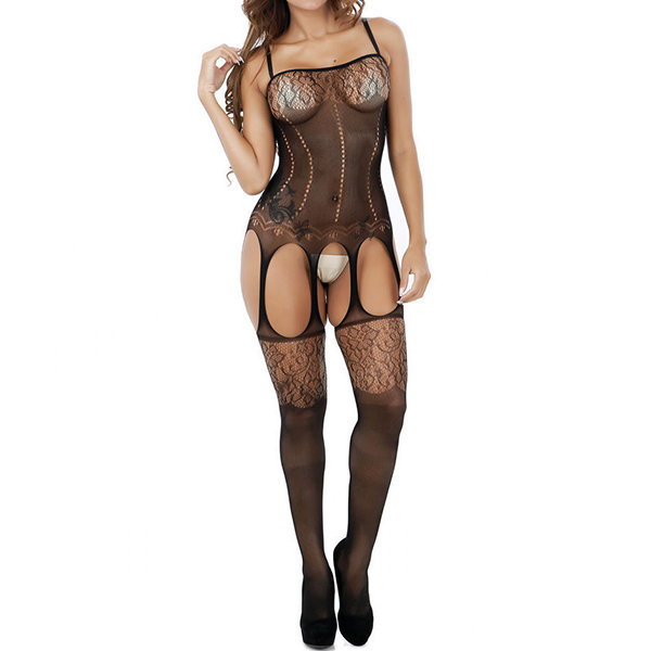 cf6d55af8c2 Sexy Sexy Open Crotch Temptation Spaghetti Strap Jacquard Hollow Out  Bodystocking For Women - NewChic