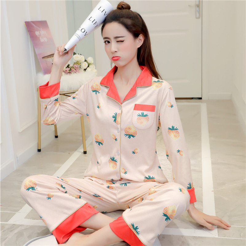 dc5f7a5d5fb Sexy Silk Pajamas Sweet Cartoon Cute Strawberry Home Service Suit - NewChic