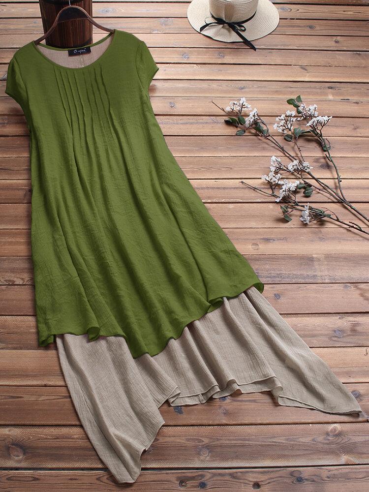 Pleated Patchwork Irregular Dress