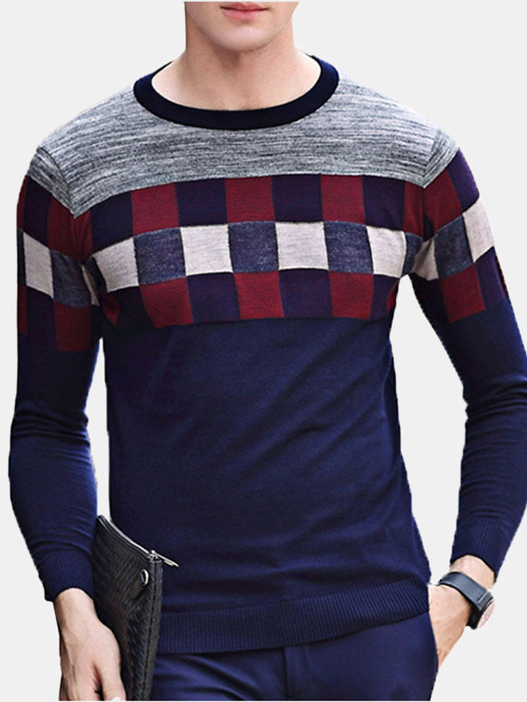249a249202d yanyuanlong Stylish Plaid Printing Round Neck Long Sleeve Casual Wool  Sweater for Men Cheap Online - NewChic