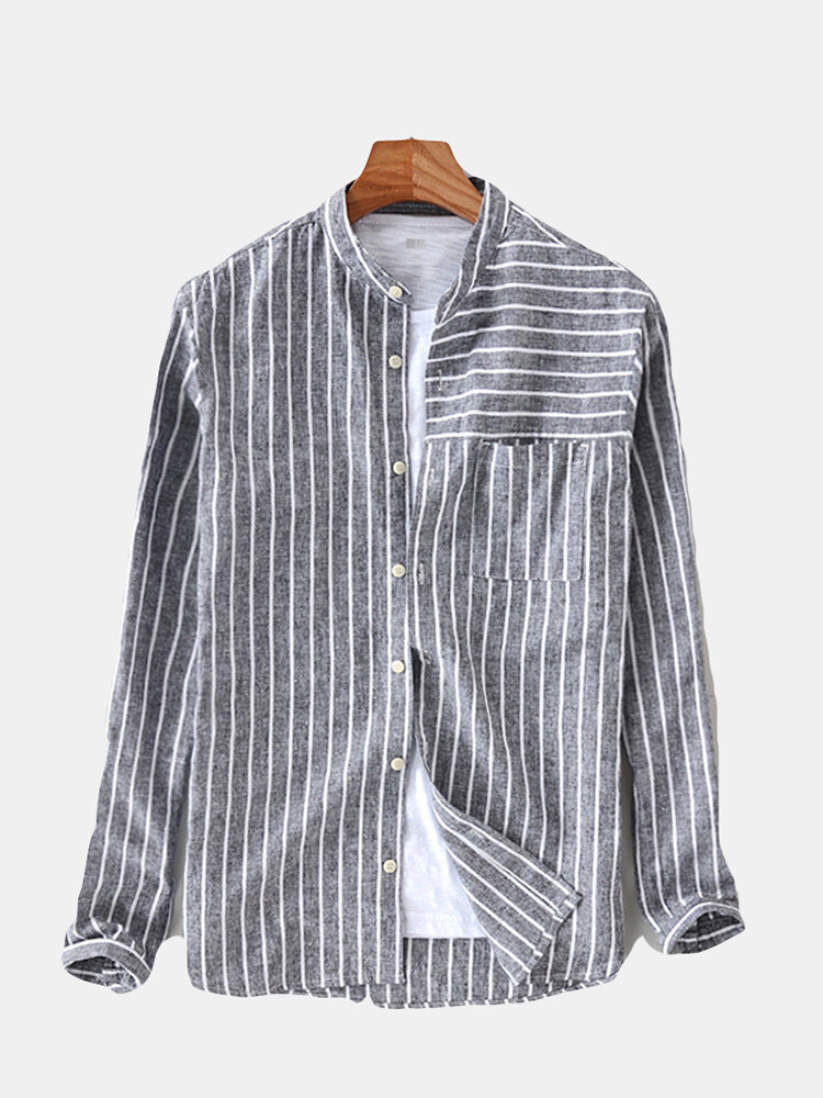 e59f9ce9cba ChArmkpR Mens Cotton Striped Vintage Breathable Loose Fit Long Sleeve  Fashion Casual Shirt Best Designer Online - NewChic