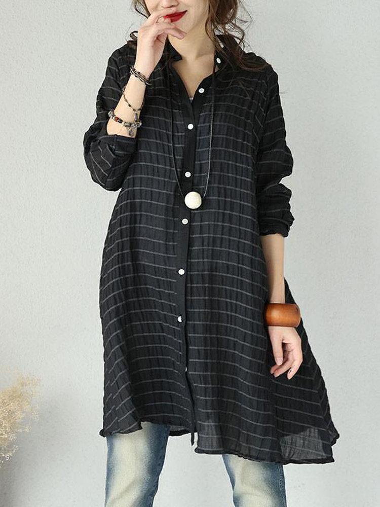 a85f781e56 ZANZEA Casual Striped Long Sleeve Lapel Loose Shirt For Women - Newchic