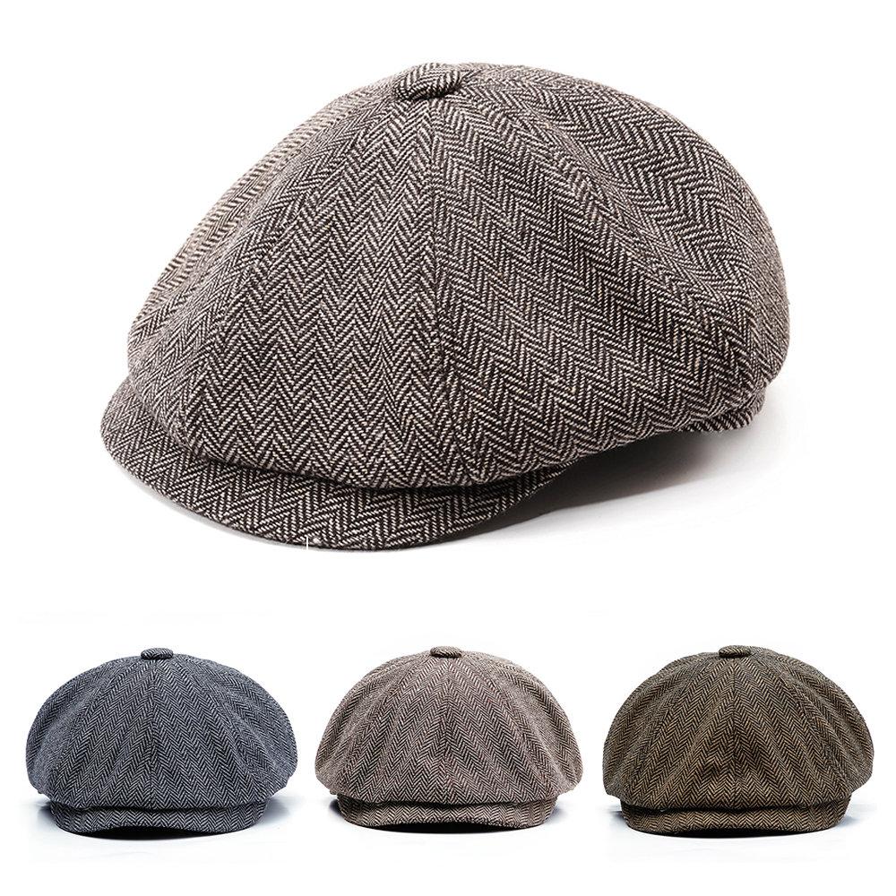 Hombres Vintage Tweed Newsboy Cap Warm Beret Gorras Cómodo plano Cabbie sombreros  Octagonal Cap 16b34f121a0