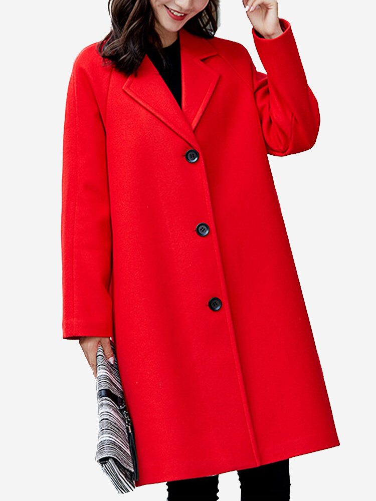 ace8b0ae74ff Trendy Middle East Solid Color Turn-Down Collar Wool Blend Coat ...