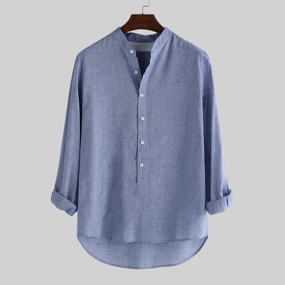 d1ceadafbb0 TWO-SIDED Mens V-neck Collar Casual Cotton Linen Long Sleeve T-shirts  Outwear Tops Best Online - NewChic