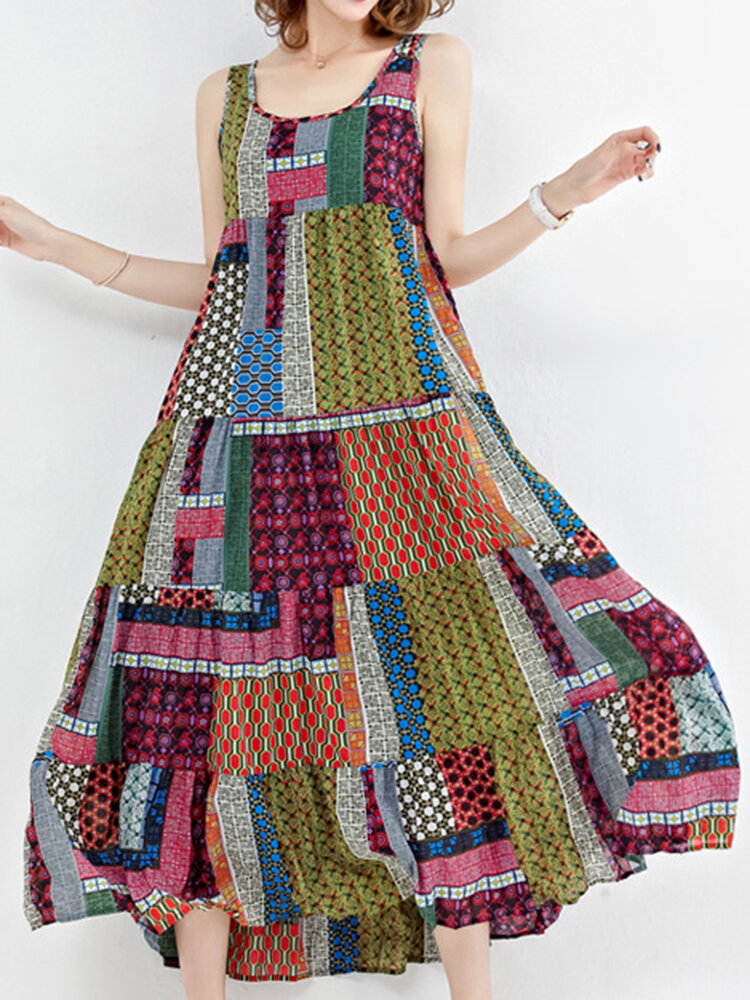 a5acf71484 Bohemian Patchwork Sleeveless O-Neck Long Maxi Dresses Online - NewChic