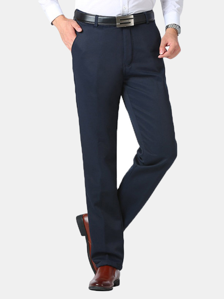 0292987bb04 Mens Thicken Thermal Loose Easy-care Pants Business Casual Suit Pants Online -NewChic