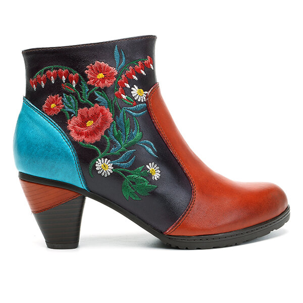 fca21d9df1a4b Designer Socofy SOCOFY Retro Blossom Embroidery Pattern Zipper Ankle  Leather Boots - NewChic