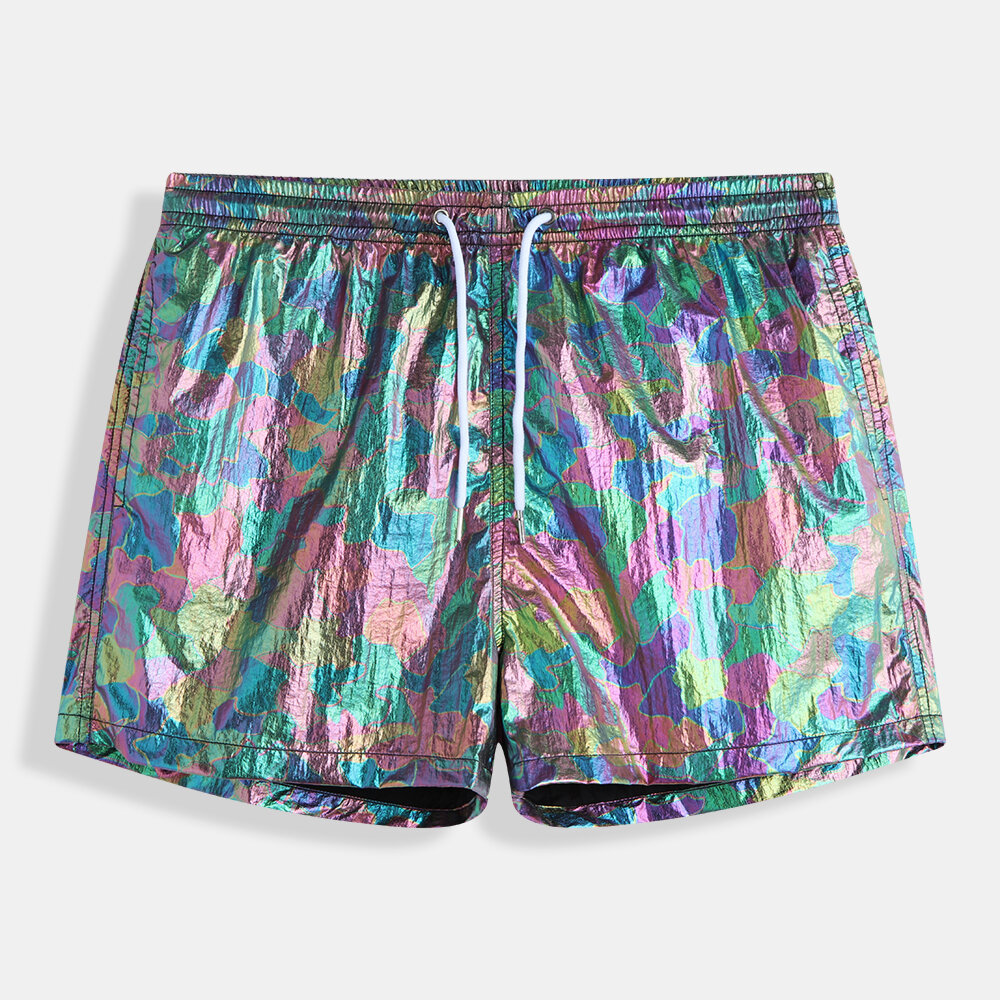 65eabbccdf ChArmkpR Mens Reflective Fashion Thin Light Board Shorts Summer Seaside  Party Mesh Liner Mini Shorts Cheap