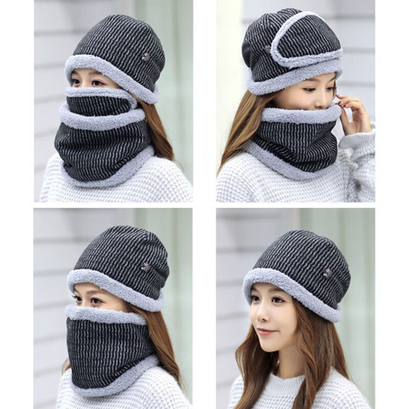 14797b045b9 Women Winter Plush Warm Knit Beanie Hat Masks Scarf Set Outdoor Ski  Windproof Ear Cover Hat Online Cheap - NewChic